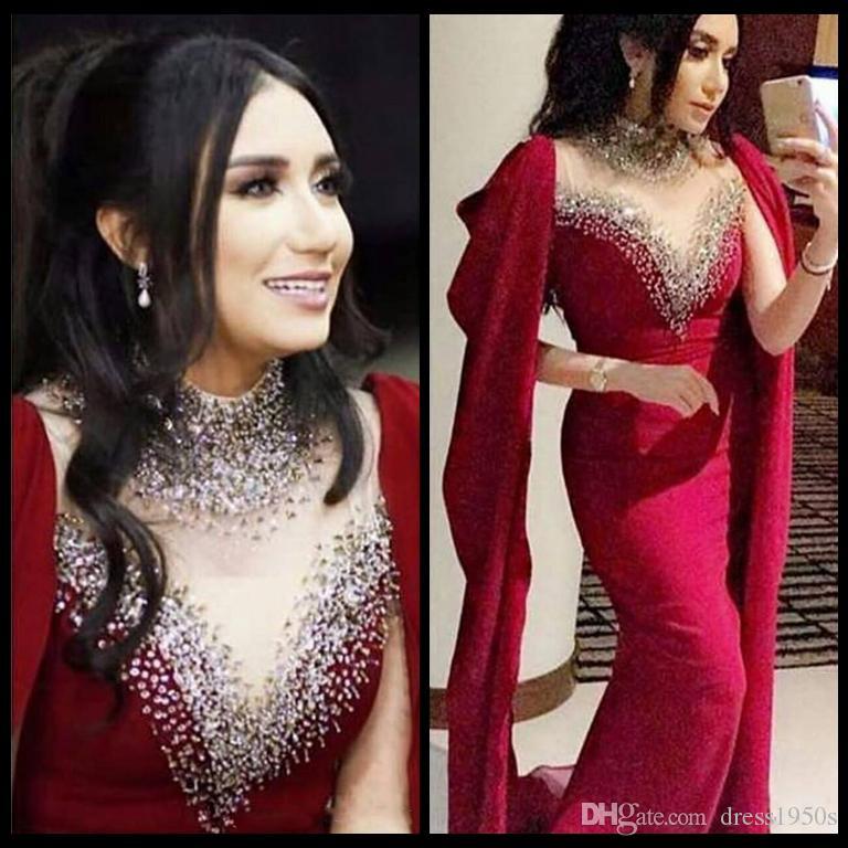 Diseñador Saudi Árabe Alto Cuello Decoración Prom Pasos Líbano con cuentas Cristal Sexy Dark Rojo Sirena Vestidos Largos Vestidos Formales