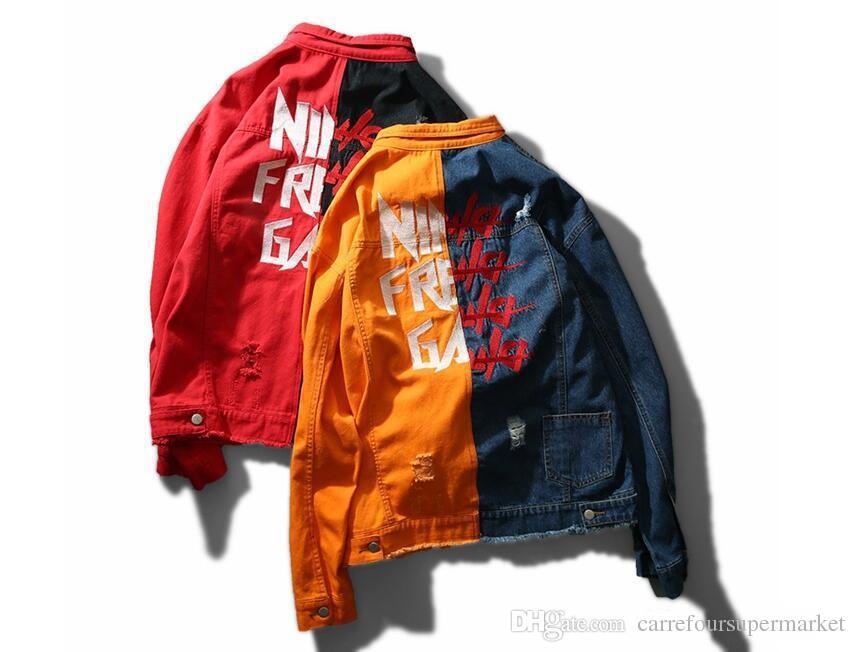 Ma1 New Men Denim Jacket Male High Street Fashion Hip Hop Kanye