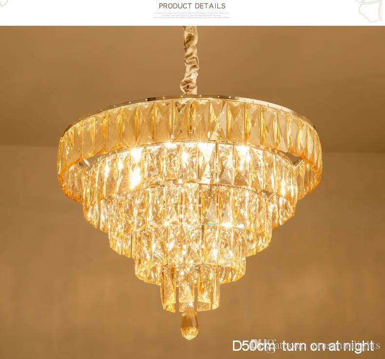 Modern Chandelier American K9 Crystal Chandeliers Lights Fixture European Round Home Indoor Lighting Bed Dining Room Pendant Hanging Lamps