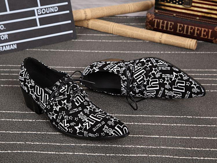 Karakter Erkek Hakiki Deri Beyaz Graffiti Siyah Erkekler Ayakkabı Dantel-Up Oxfords Rahat Iş Ayakkabıları Sahne Ayakkabı Parti Düğün Oxfords