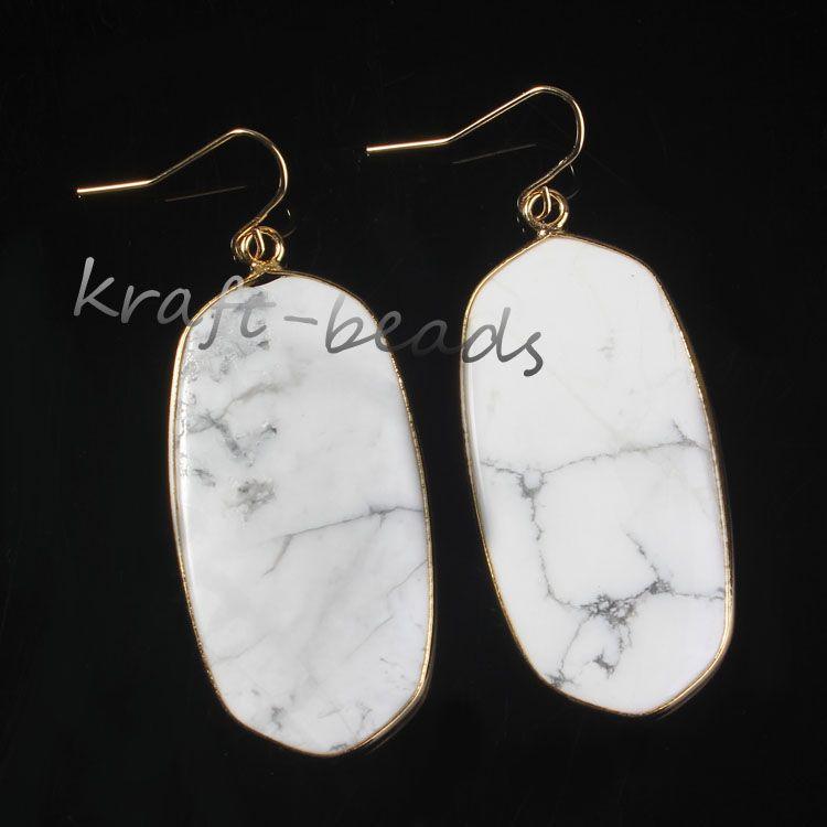 Venta al por mayor 10 par nuevo estilo 18 k chapado en oro estilo multi cuarzo piedra elipse gancho cuelga pendiente declaración accesorio