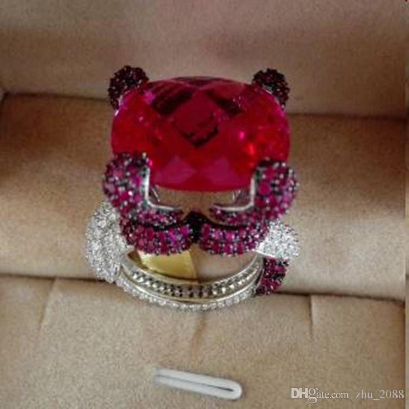 Qi Xuan_ Jewelry_Big Les cocktails de luxe de Rubellite Snings Rings_S925 en argent sterling plaqué or blanc Rings_Factory directement les ventes