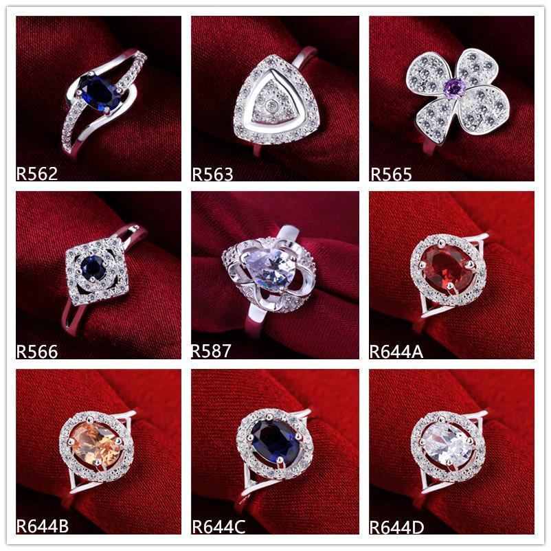 10 قطعة مختلطة المرأة نمط الأحجار الكريمة خاتم الفضة الاسترليني، انفجر درجة عالية عارضات الأزياء 925 حلقة من الفضة GTR51 على الانترنت للبيع