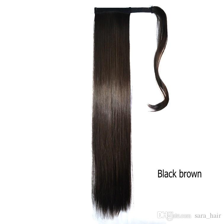 """Sara Women Hair Piece Long 60CM,24"""" Straight Ponytail Drawstring Clip in Ponytail Synthetic Hair Extension Wrap-Around Black Pony Tails"""