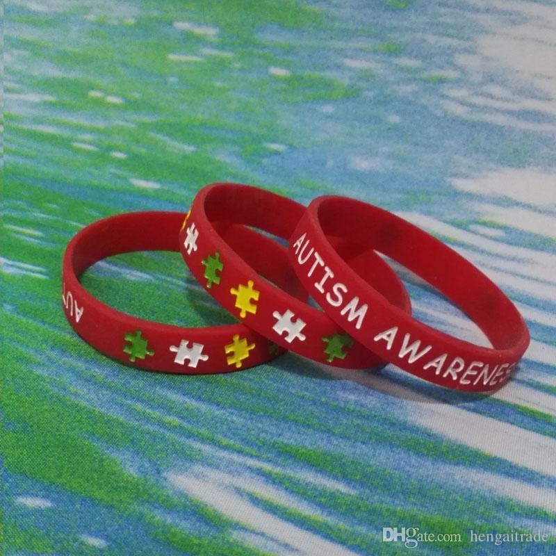 alta qualità AUTISMO Debossed e inchiostro Riempito della gomma di silicone Bracciali braccialetti i regali promozionali SS001