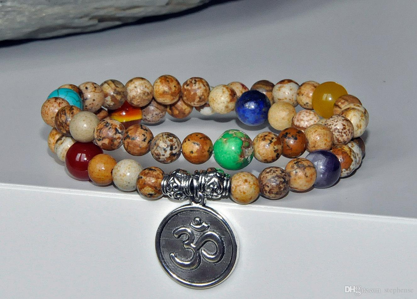 SN0197 Hot Sale 54 Mala beads mala healing bracelet Picture Jasper OM yoga bracelet for men
