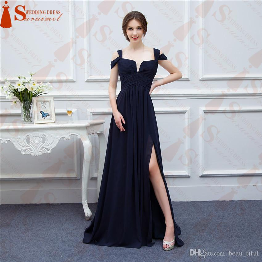 Bariano Ocean Navy Blue Color Chiffon Long Events Prom Gown V neck Sexy Side Slit Cap Sleeve Evening Dresses