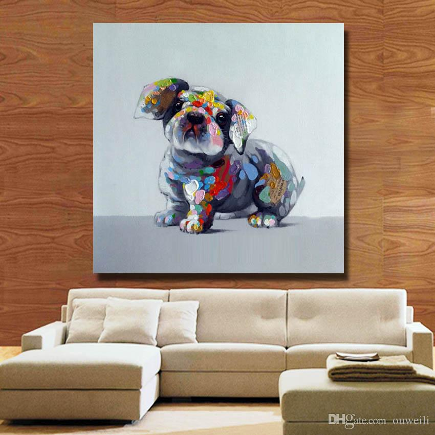 Top quality modern home wall decoration hand painted product cartoon dog picture abstract canvas art