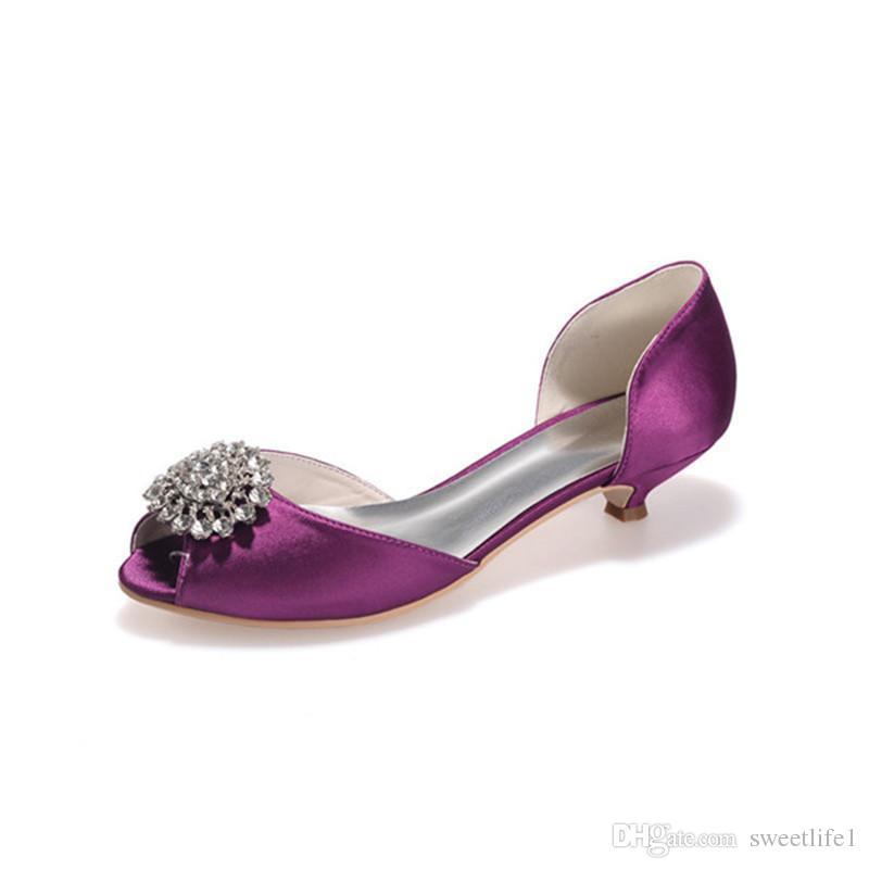 0700-03 Basit Rhinestone Kristal Kadınlar Için Moda Düşük Topuk Gelinlik Peep Toe Parti Balo Akşam Günlerinde Ayakkabı Yüksek Kalite