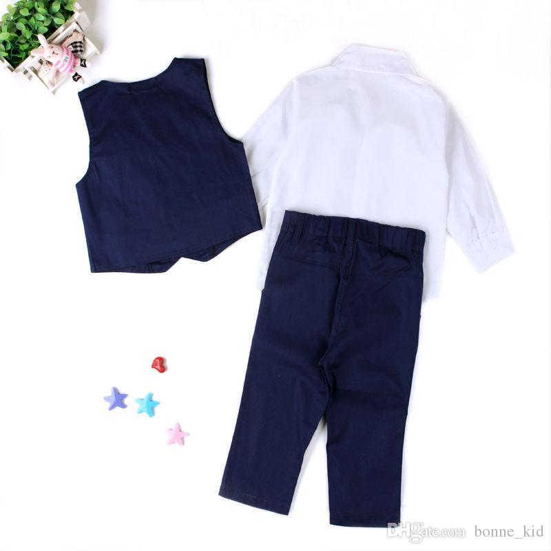 Wedding baby boy suit outfit kid clothing set shirt waistcoat pants tie 4-piece outfits boys formal clothes sequin dot tuxedos suiting up