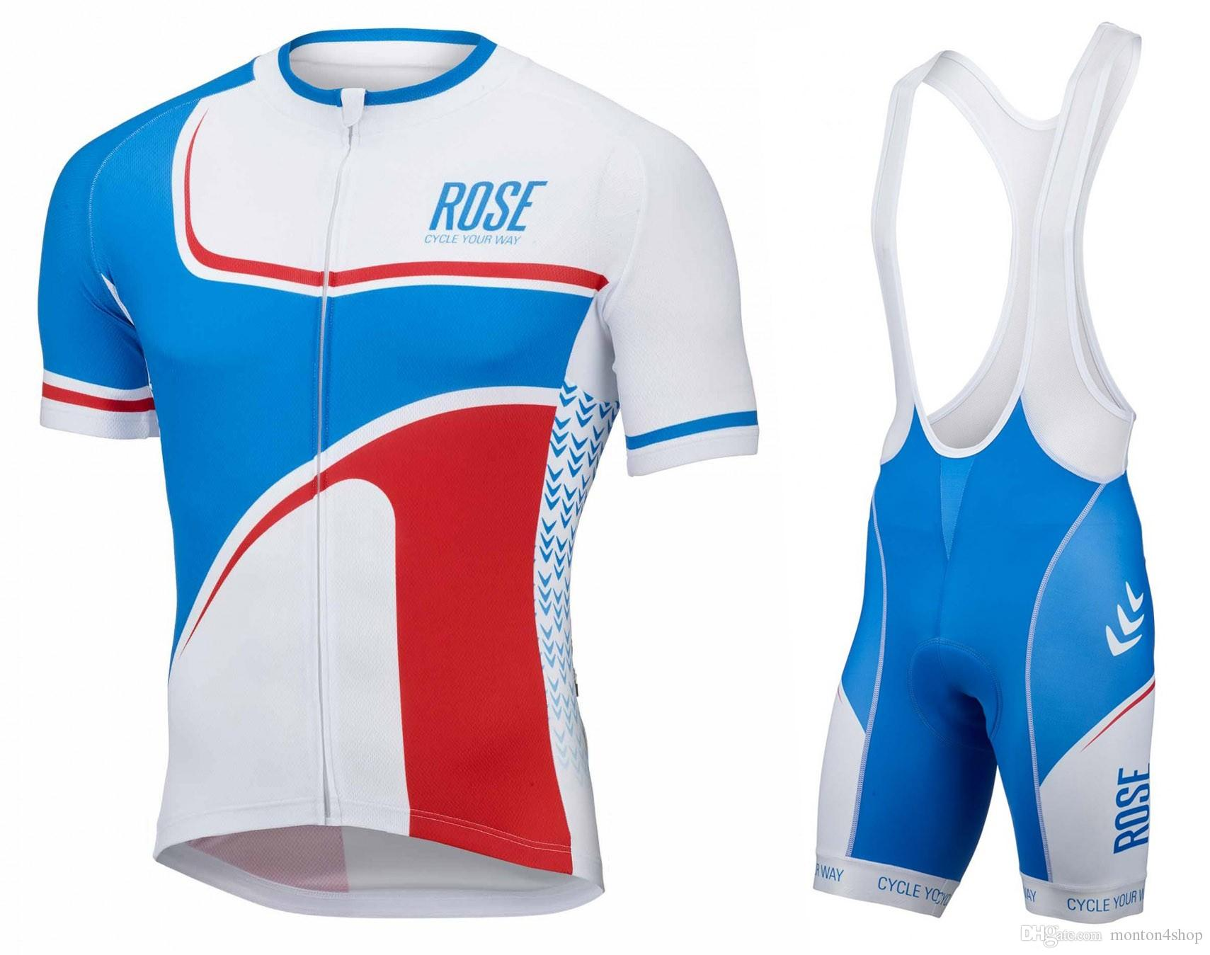 44a6ece19 Mens Rose Retro Blue White Cycling Jersey 2018 Maillot Ciclismo ...