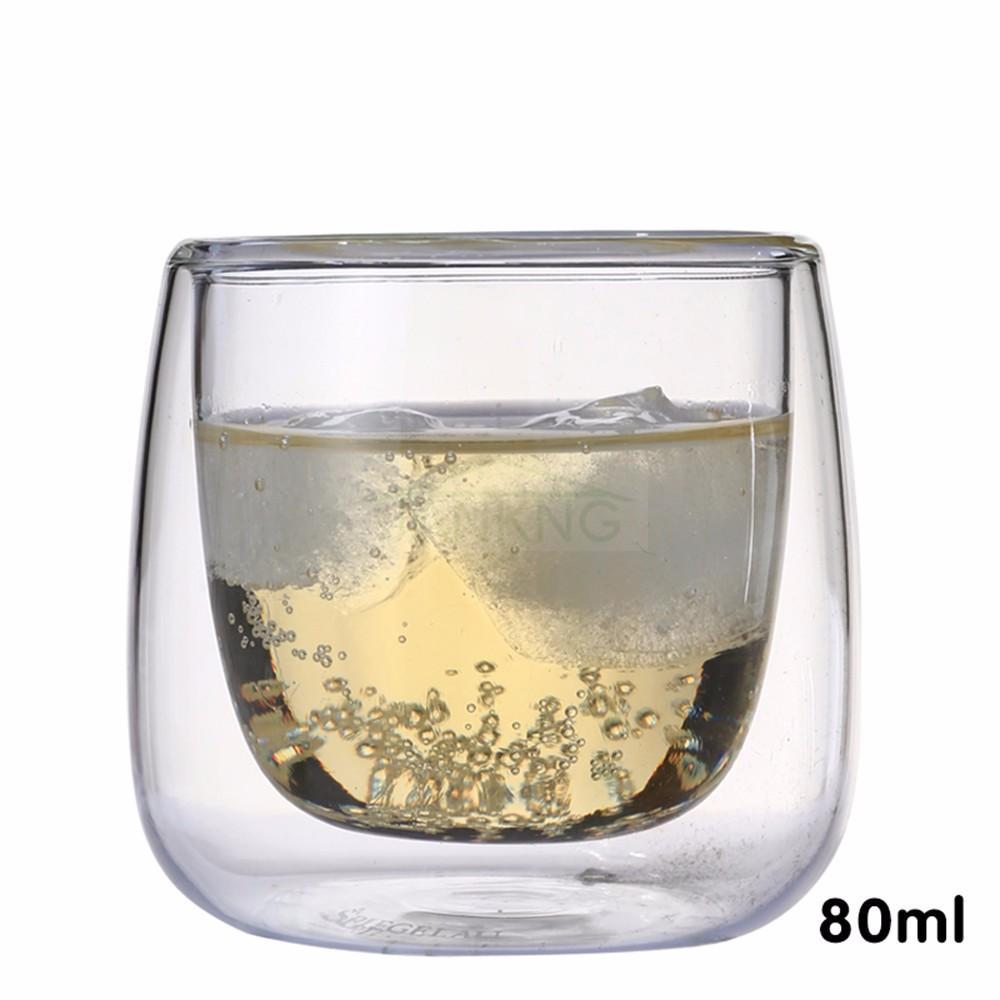 JANKNG 1 Stück Klar Handgemachte Hitzebeständige Doppelwand Glas Tee Trinken Tasse Gesundes Getränk Becher Kaffeetasse Isolierte Klarglas