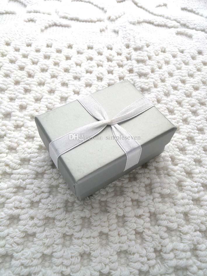 [Simples Sete] Caixa da jóia clássico cinza prata anel caixa / Festival Pedant Box / Colar Moda Caixa / Princesa com Bowknot
