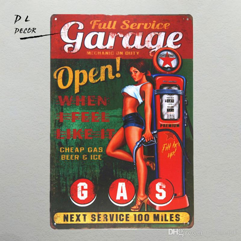 DL-Garage Open GAS Wall plaque Metal Sign Word Art antique tray Home Decor pin up poster coffee signs for wall