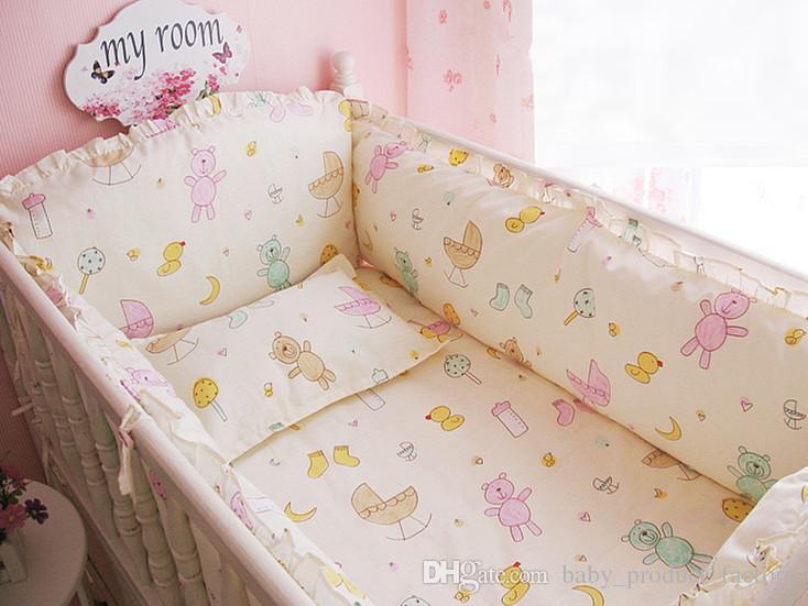 Promotion! Cartoon Cot Bumper Baby Crib Bedding Set with Bumper Bedding Set ,include4bumpers+sheet+pillowcase