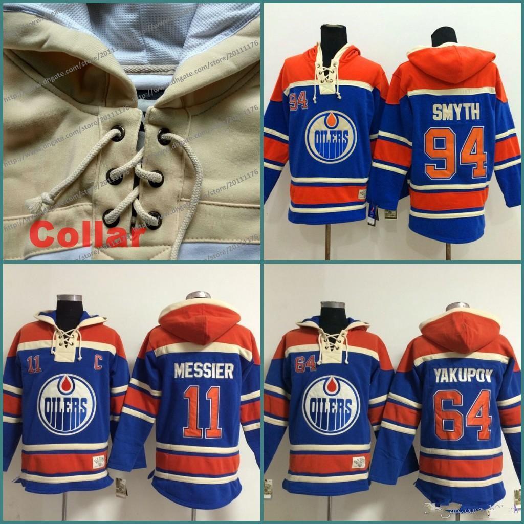 2db9a400034 NHL 11 Mark Messier 64 Nail Yakupov 94 Ryan Smyth Mens Ice Hockey Hoodie  2016 Old ...
