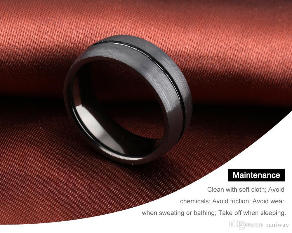 패션 블랙 남자 8mm 클래식 플랫 탑 닦 았 센터 텅스텐 스틸 반지 그루브 웨딩 약혼 밴드 남자 크기 8-11
