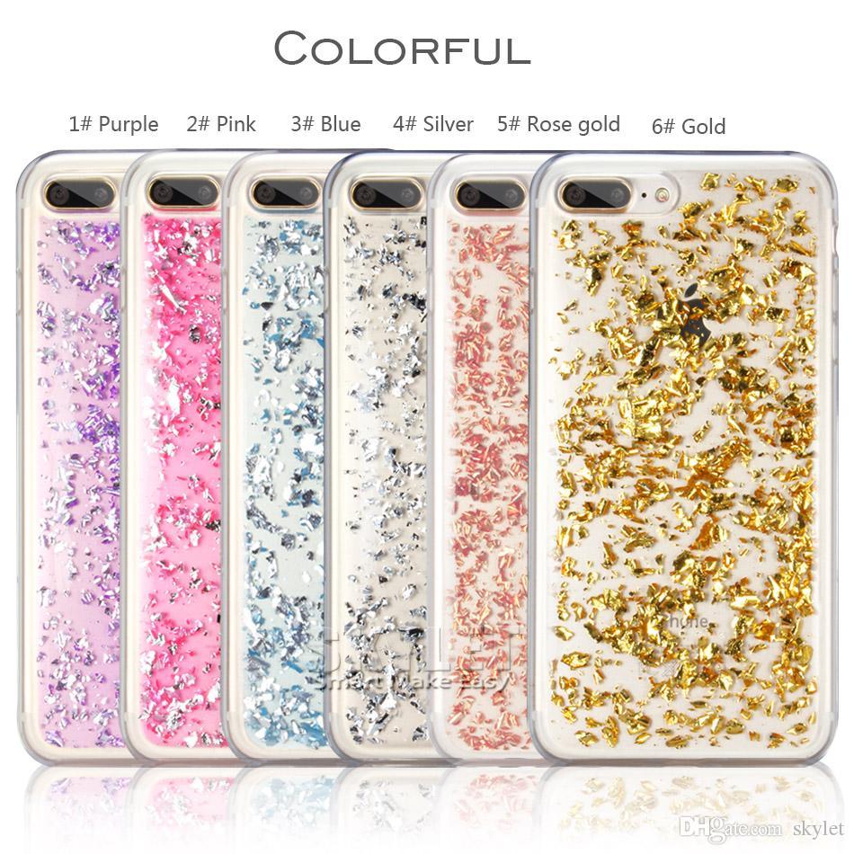 Bling bling de cas pour l'iPhone X Étui souple Glitter couverture arrière cas pour Samsung S8 S9 plus J7 2017 A5 2017 avec OPP sac