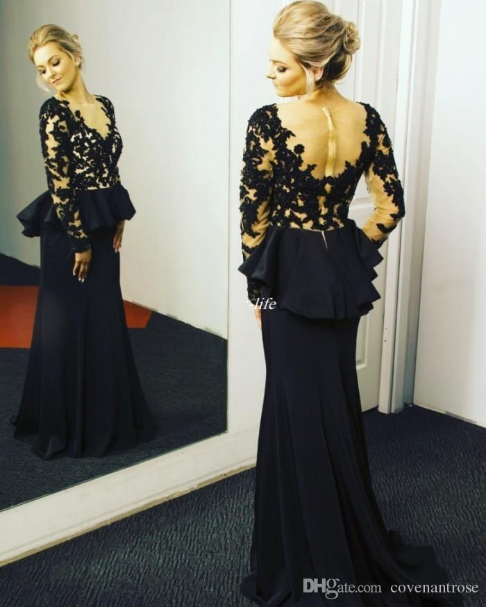 Midst Black Long Sleeve Evening Dresses For Women Sheer Neck Lace