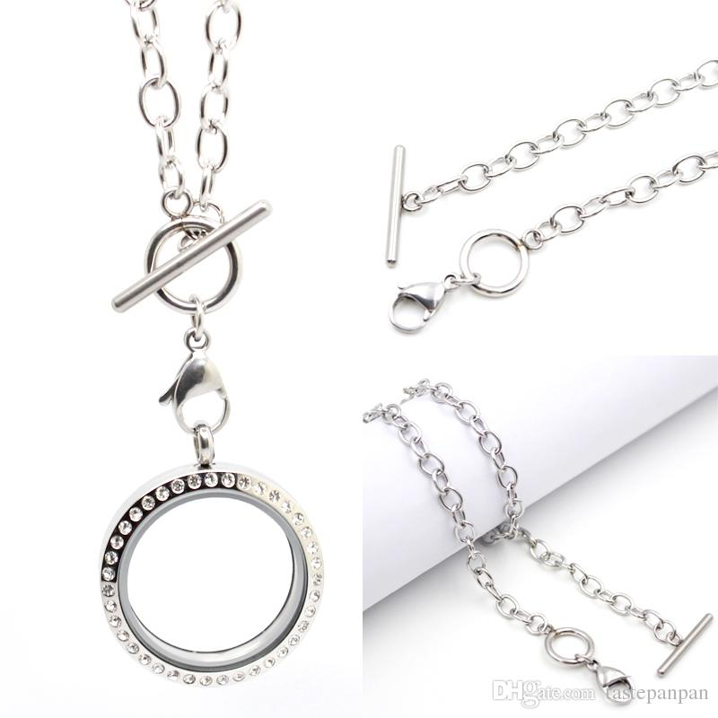 Panpan jewelry Support for Blending! 18'' toggle Chain 316L Stainless Steel Floating Charm Locket pendant nacklace