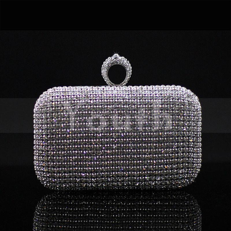 Rhinestone Ring Clasp Net Diamond Encrusted Clutch Crystal Evening Bag Cutout Women Handbag Banquet Purse for Party and Wedding - RC023
