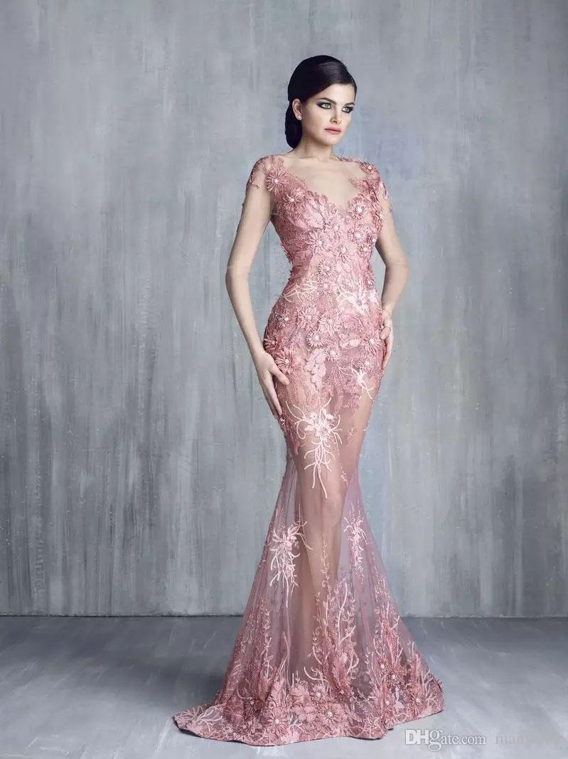 토니 Chaaya 인어 이브닝 드레스 2019 년 짧은 소매 레이스 Applique 구슬 환상 Bodice 바닥 길이 공식 무도회 가운