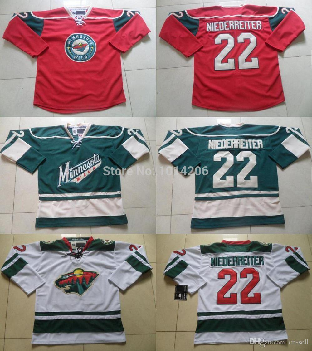 size 40 7e822 5a1e6 Nino Niederreiter Jersey #22 Minnesota Wild Jerseys red home/ white  road/green alternate 3rd MN Wild Hockey Jersey