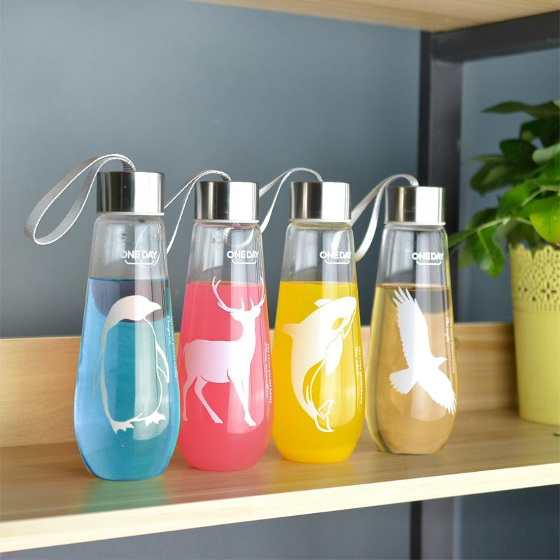 c77c426e0b 480Ml Water Bottle With Bag Leak Proof Glass Water Bottle Drinkware  Transparent Water Bottles Cute Anima Sports Fruit Tumbler Sports Water  Bottles Online ...