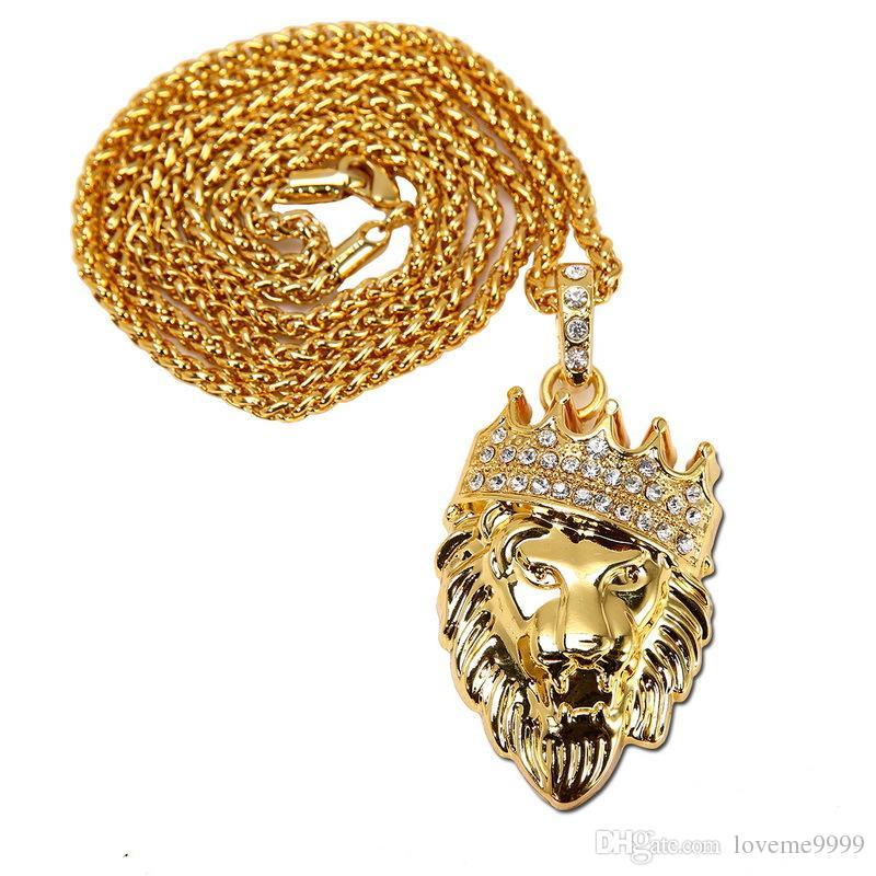 Hombres mujeres de alta calidad 24 K chapado en oro hip hop collar de la corona de la cabeza del rapero rapero Golden King lion colgantes de la cara rey IGE cadena collar de la serpiente
