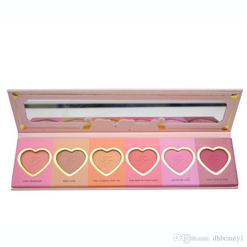 2016 amor flush blush maquiagem alta blusher coração forma paleta 6 cores duradoura 16-hour blush com logotipo marca d ...