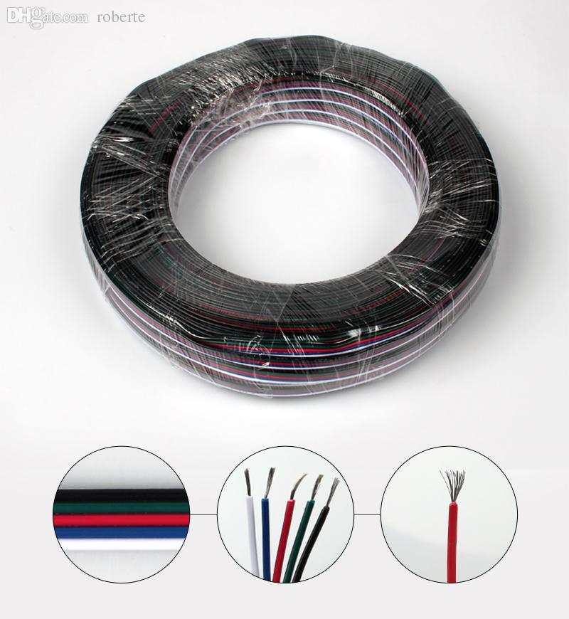 Wholesale-50m 22AWG 5 Pin RGBW LED Strip Wire Extension Cable Line ...
