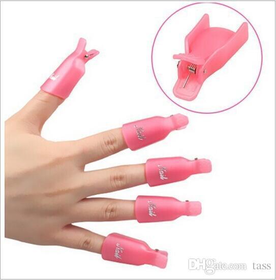 Venta caliente !! 10 unids / lote Plástico Nail Art Soak Off Cap Clip UV Gel Removedor de Esmalte Herramienta de Envoltura Gofuly Envío Gratis