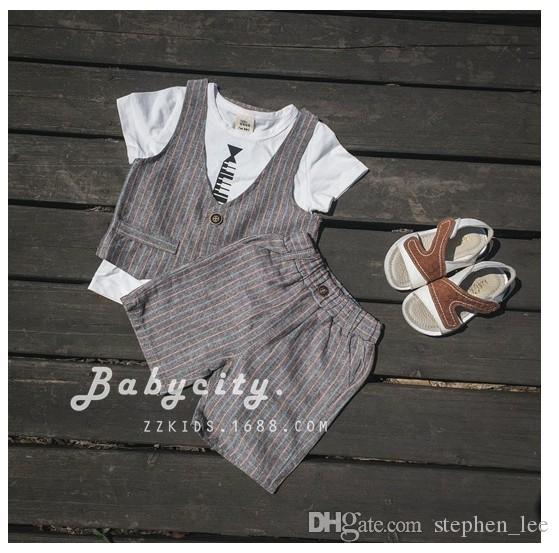 Set Children Suit 2016 Small Boys Gentleman Style Summer Stripe Clothing Sets Baby Boy T-shirt+Waistcoat+Shorts Kids Outfits 1-4Years