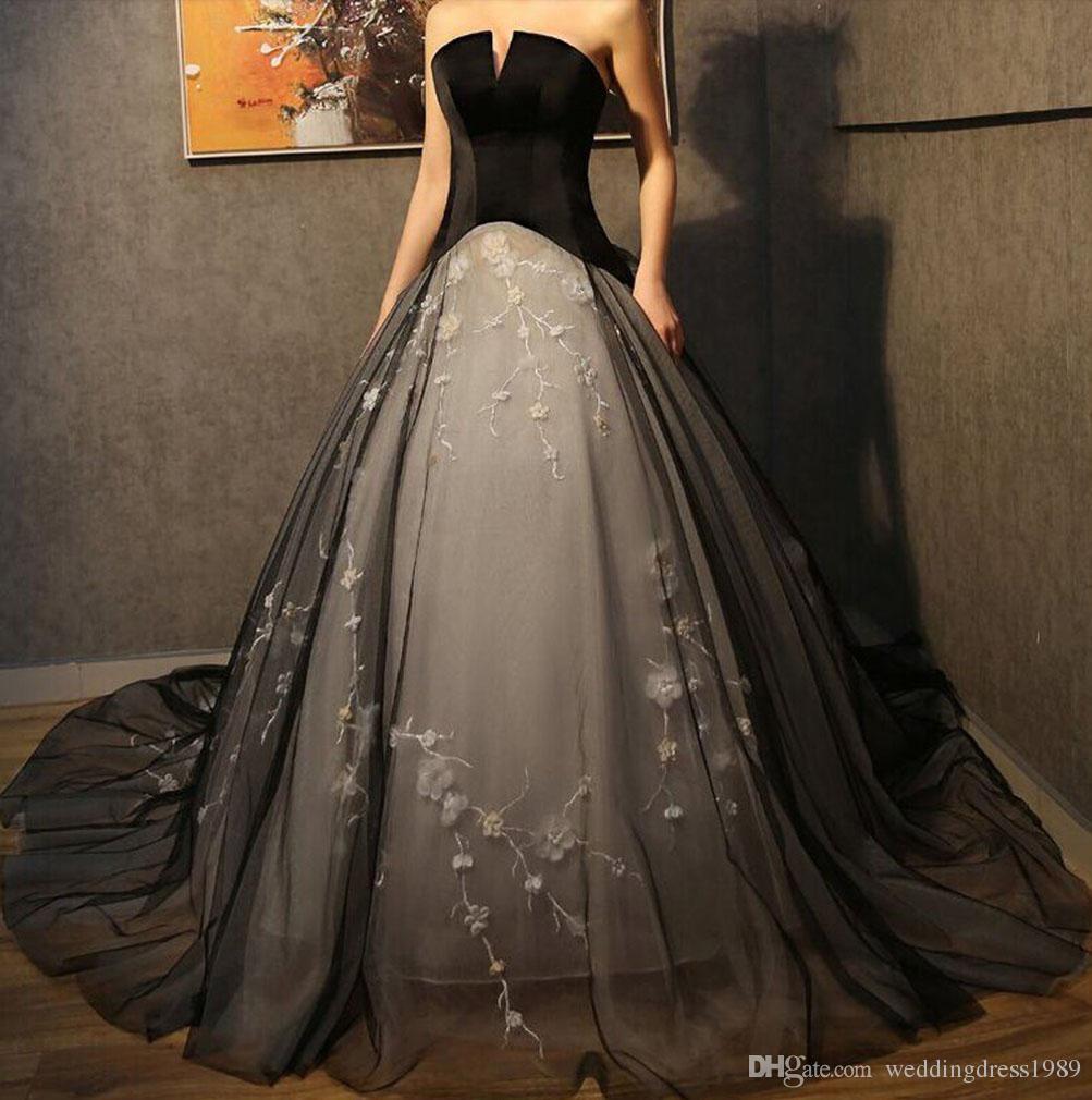 Elegant Black Floral Flower Wedding Dresses A-Line Formal Tulle Lace Plus Size 2018 Train vestido de noiva Bridal Gown Ball