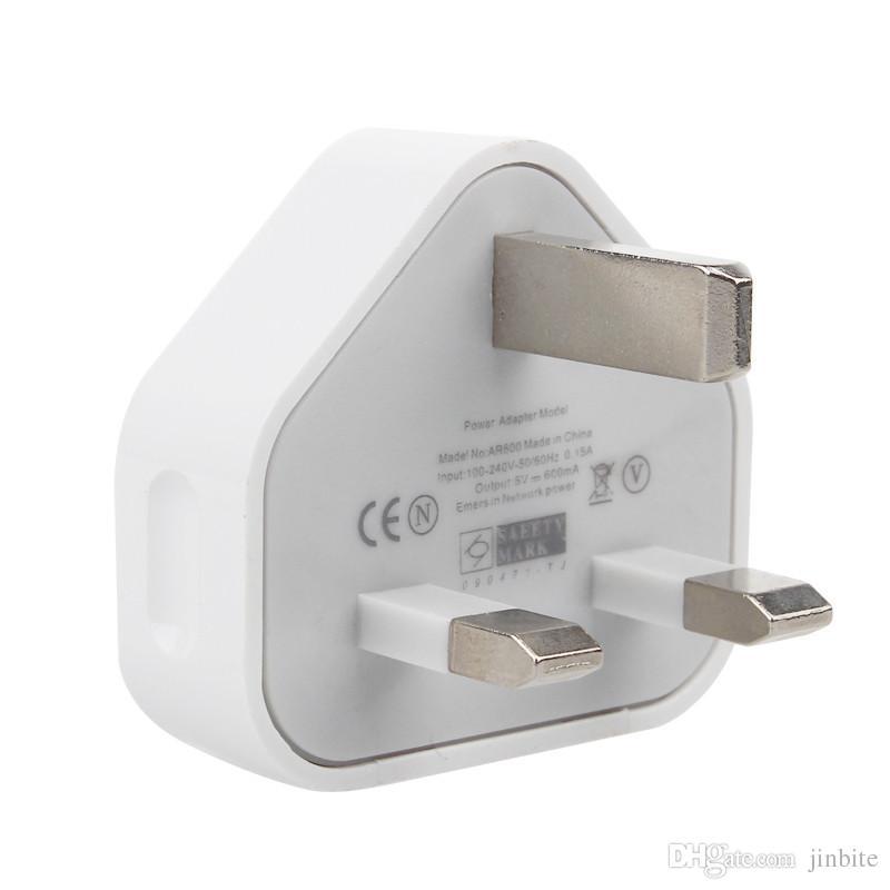 REINO UNIDO 3 Pin Mains Charger Plugue Adaptador 5 V 1A UK USB Adaptador de Parede Para iphone 5s 6 6 s 7 mais samsung s6 s7 tablet pc universal de alta qualidade jbd-uk