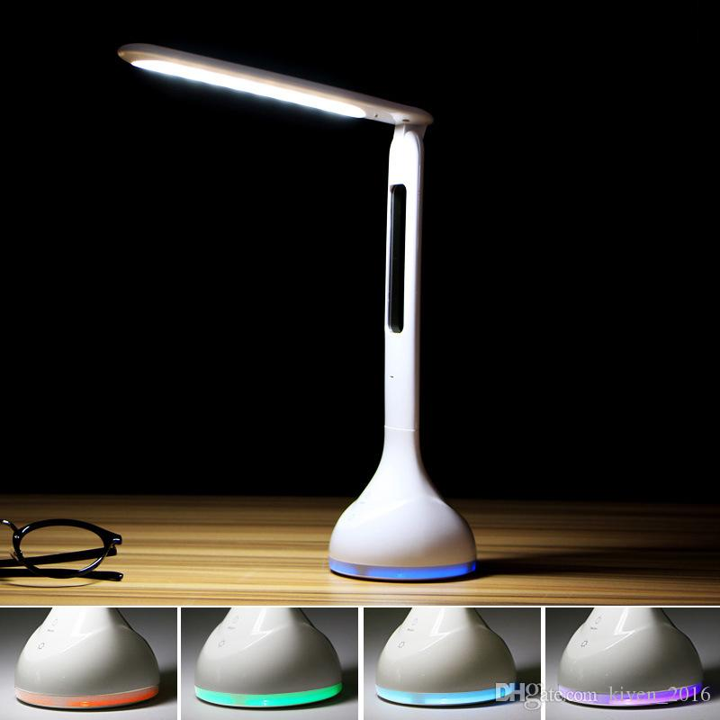 Folding bedside LED Table Lamps with calendar function student desk lamp alarm clock function rechargeable eye light reading lights