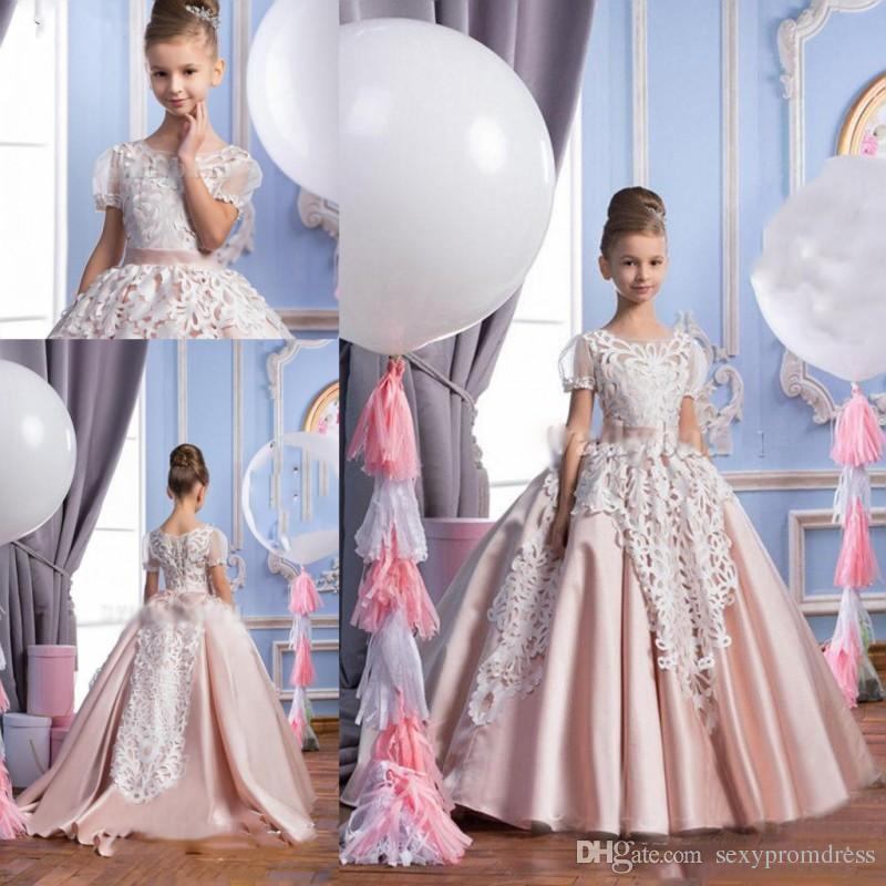 White Lace Blush Pink Ball Gown Flower Girl Dresses 2017 Princess ...