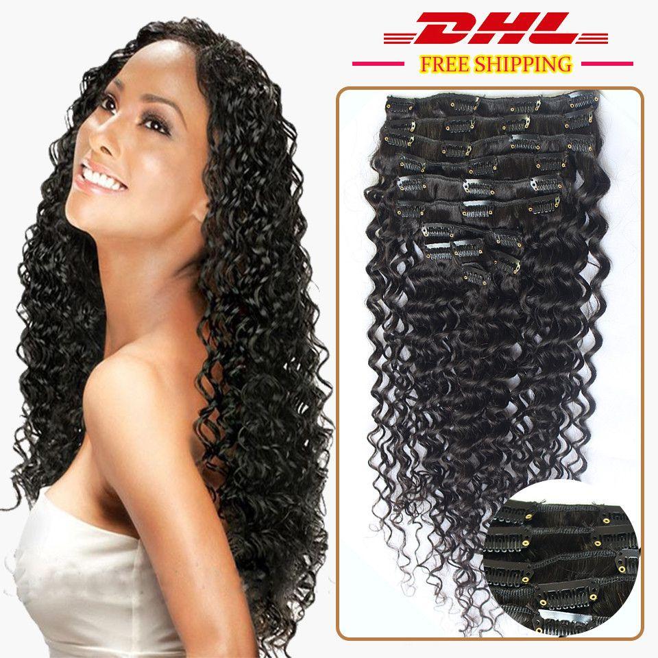 120g Loose Deep Wave Human Hair Clip In Curly Hair Extensions Virgin