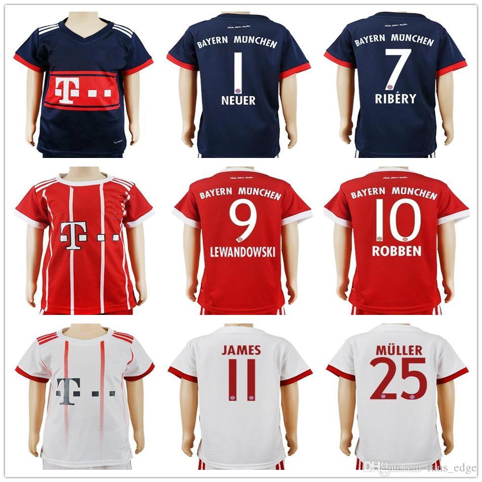 sports shoes edc5f 375ff Kids Soccer Jerseys 11 JAMES 7 RIBERY MARTINEZ 9 LEWANDOWSKI 10 ROBBEN  ALABA 25 MULLER 21 LAHM BOATENG VIDAL Customize Youth Football Shirt