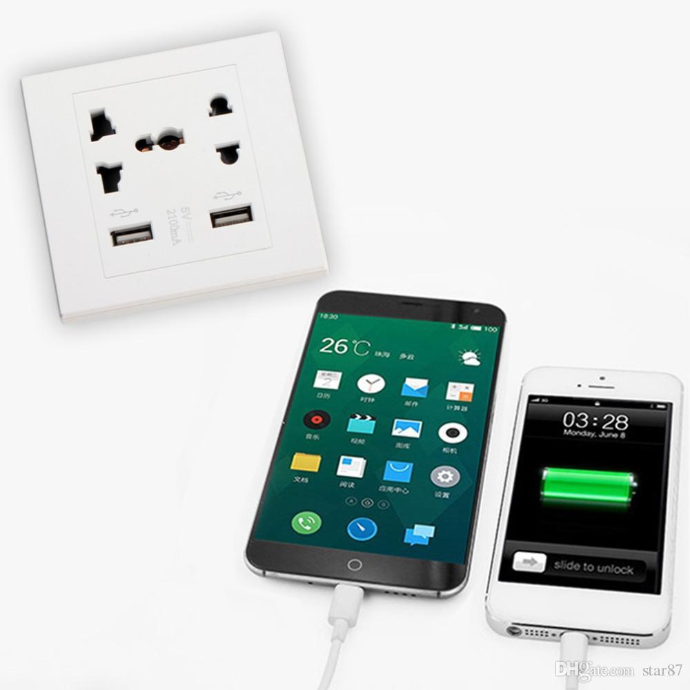 Haute qualité nouvelle marque double port USB chargeur mural mural Dock Prise de courant Prise de panneau 2 couleurs Smart Power Plugs DHL Free