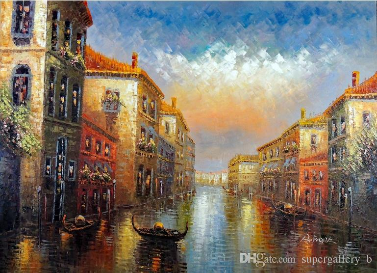 2018 Framed Venice Canal Italy Homes Cloudy Day,Handpainted ...