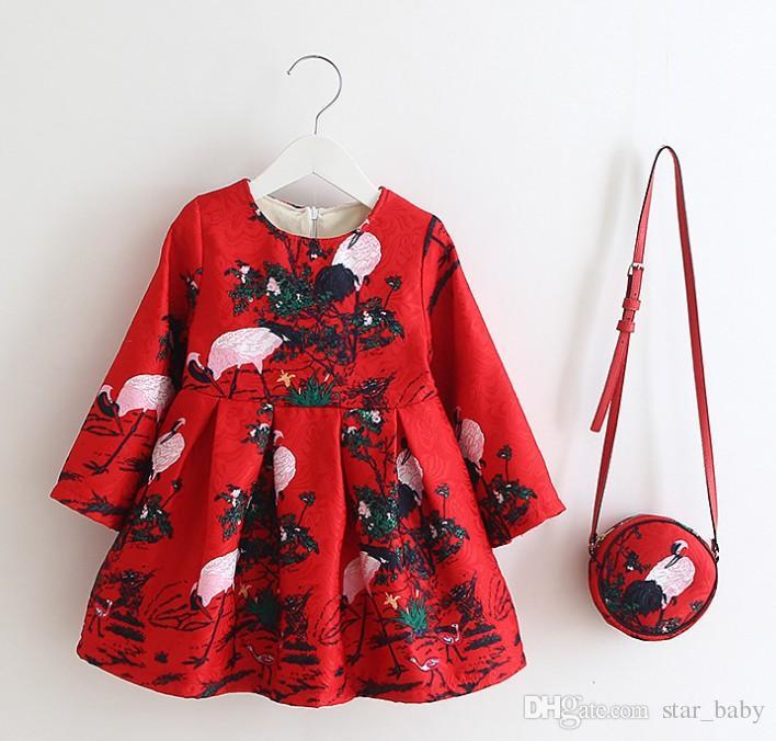 12 Style Cartoon European Style Girl's Dresses Dobby With Handbag Kids Clothes Princess Party Tutu Dress Children Christmas Clothes 9564