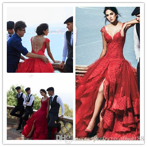 red lace wedding dresses