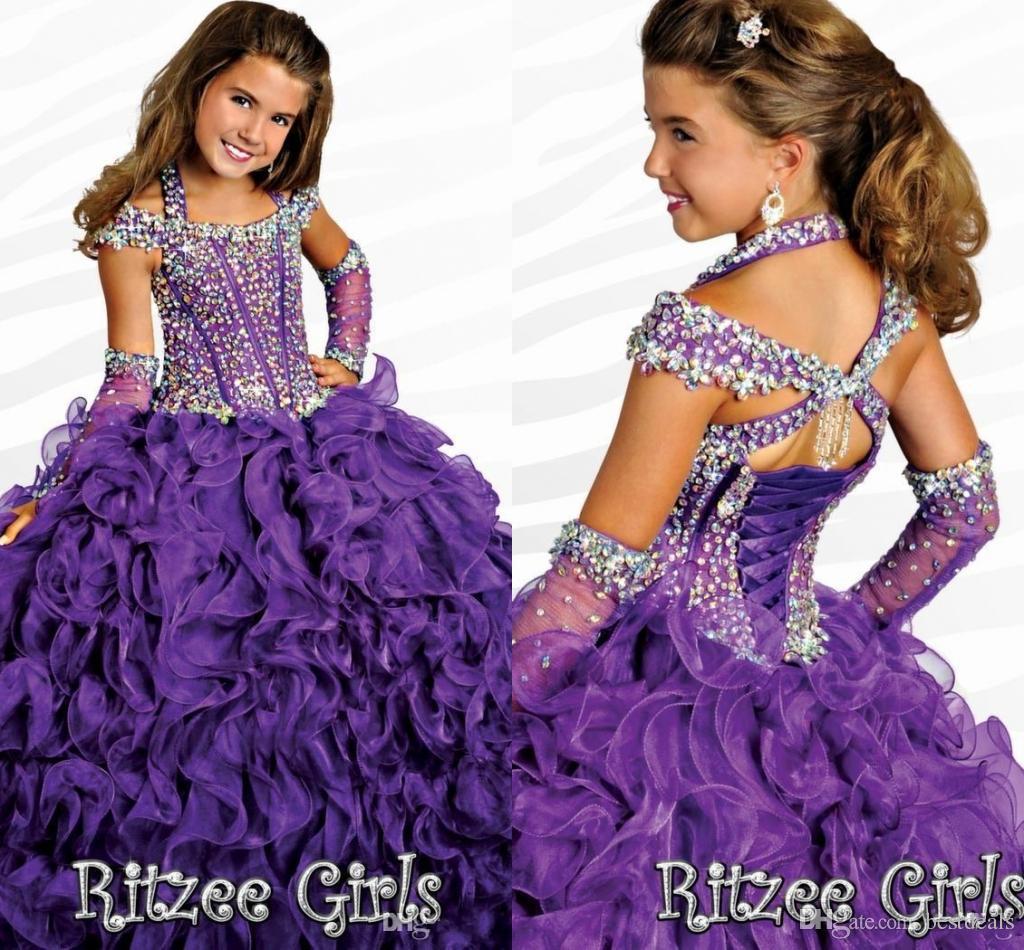 2016 Ritzee Halter Ball Vestidos Niñas Vestidos del desfile Con Capped Sleeves 2017 Beads Crystal Piping Hasta el suelo Con cordones Niñas Vestidos del desfile