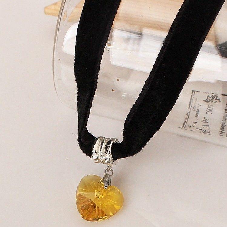 Hot Sale Choker Charm Adjustable Pendants Necklaces gothic Black Lace necklace CHOKER collar velvet+ Heart shaped crystal pendant necklace