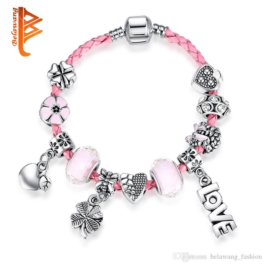 belawang pink genuine braided leather bracelet girls