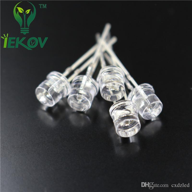 10000 pz / lotto 5 MM Flat Top White led Wide Angle 5mm Ultra Bright LED diodi a emissione di luce Componenti elettronici Vendita calda all'ingrosso