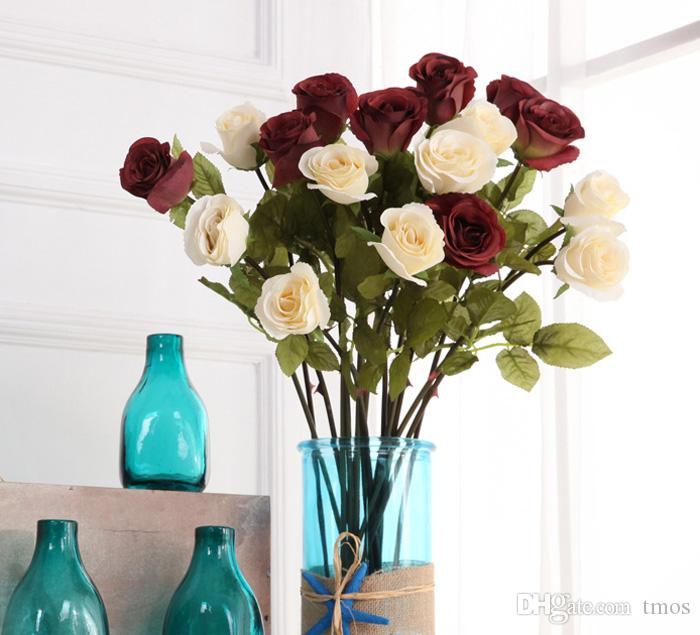 Caduta stile europeo Satin Roses MOQ rose di seta di alta qualità simulazione rosa fiori decorativi decorazioni la casa la cerimonia nuziale