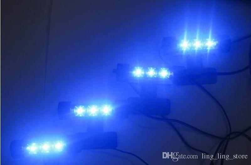 Universal Azul Luz Interior del Coche Lámpara de Atmósfera LED 4 in1 12 V Decoración Piso Luz Interior Accesorios Car Styling