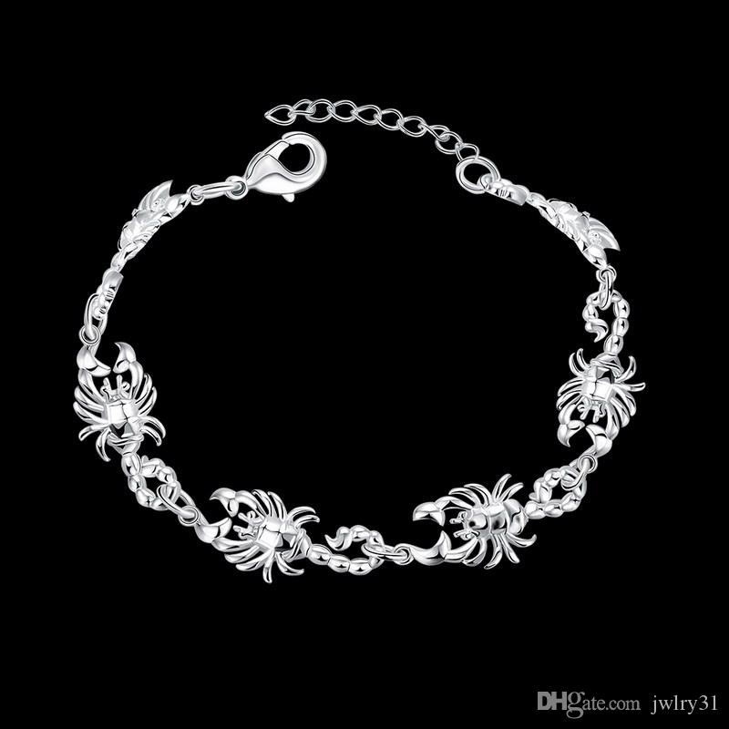 Top Qualité 925 Sterling Argent Plaqué Charme Scorpion Bracelet Mode Chaîne Animale Lien Bijoux Pour Dames Parfait Cadeau